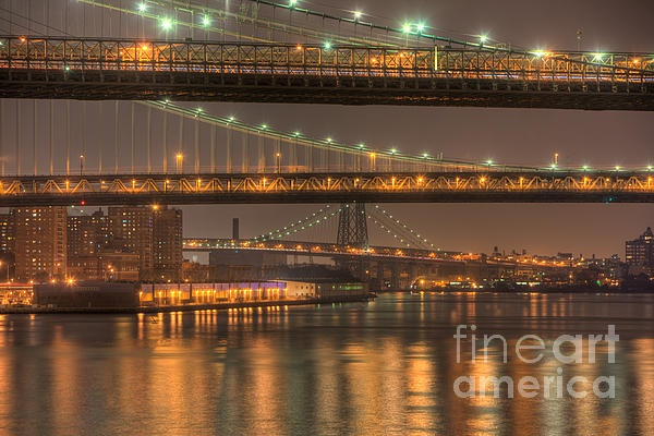 Three New York Bridges, night view of the Brooklyn, Manhatan, and Wiliamsburg bridges