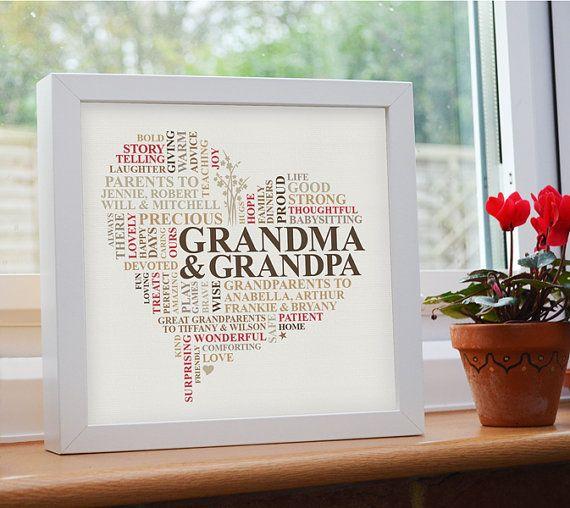 Personalised Print. Grandparents Word Art Gift. Grandma