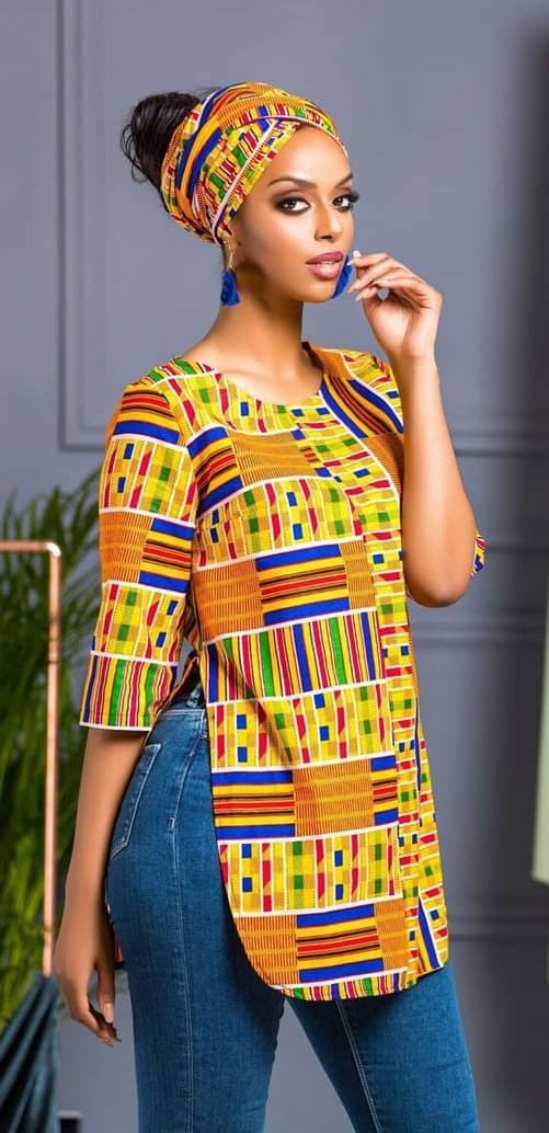 african print top with headwrap  african clothing styles