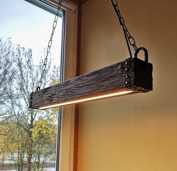 Holzbalken LED Pendelleuchte Kronleuchter Kronleuc…