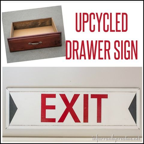 DIY HOME DECOR | Before you write off that old drawer, check out how to turn it into a cool sign like this vintage EXIT sign!