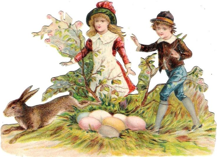 Oblaten Glanzbild scrap die cut  chromo Ostern easter Hase rabbit  Kind Ei egg