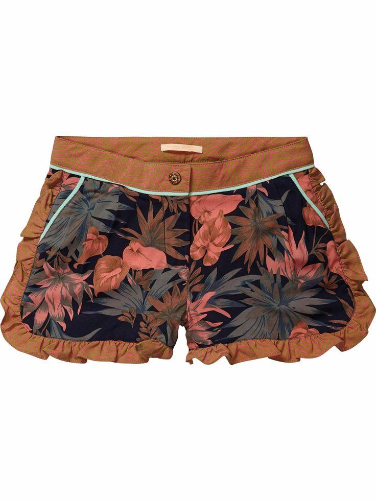 allover printed shorts with ruffles   Short pants   Girls Clothing at Scotch & Soda$78