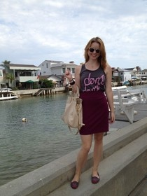 Day 10 -- Don't Rain on My Parade. Out in Laguna Beach in a H pencil skirt and a Vague Clothing tank top.