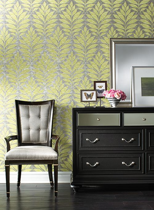 York Wallcovering Botanical Fantasy Textural Leaf - size of print reference