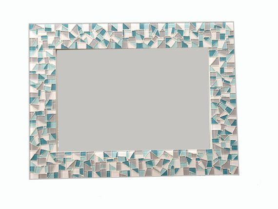 Teal Gray White Mosaic Wall Mirror by GreenStreetMosaics on Etsy, $120.00