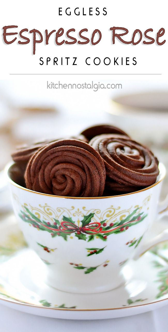 Espresso Rose Spritz Cookies - easy, light and fluffy eggless cookies - kitchennostalgia.com