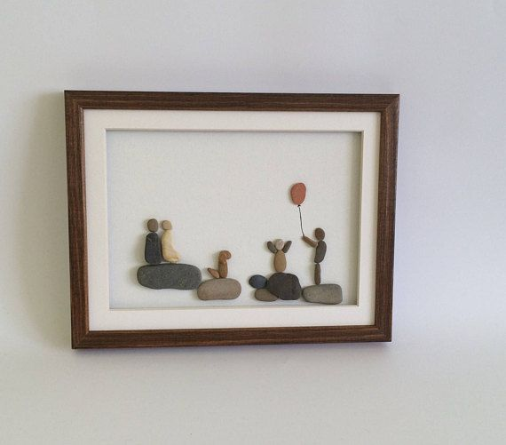 Pebble art Family of four with dog, Our funny Family portrait, Framed Stone Art Family gift, boy girl who loves pets, Gift for Mom and Dad