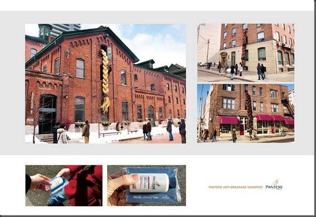 Ecco la formidabile azione di guerrilla che l'agenzia Grey Canada di Toronto ha realizzato per Pantene. Degli enormi capelli raccolti in una treccia cascanti fuori dalle finestre di alcuni palazzi. Nei pressi di questi capelloni, sono stati distribuiti dei campioni omaggio di Pantene anti-rottura.