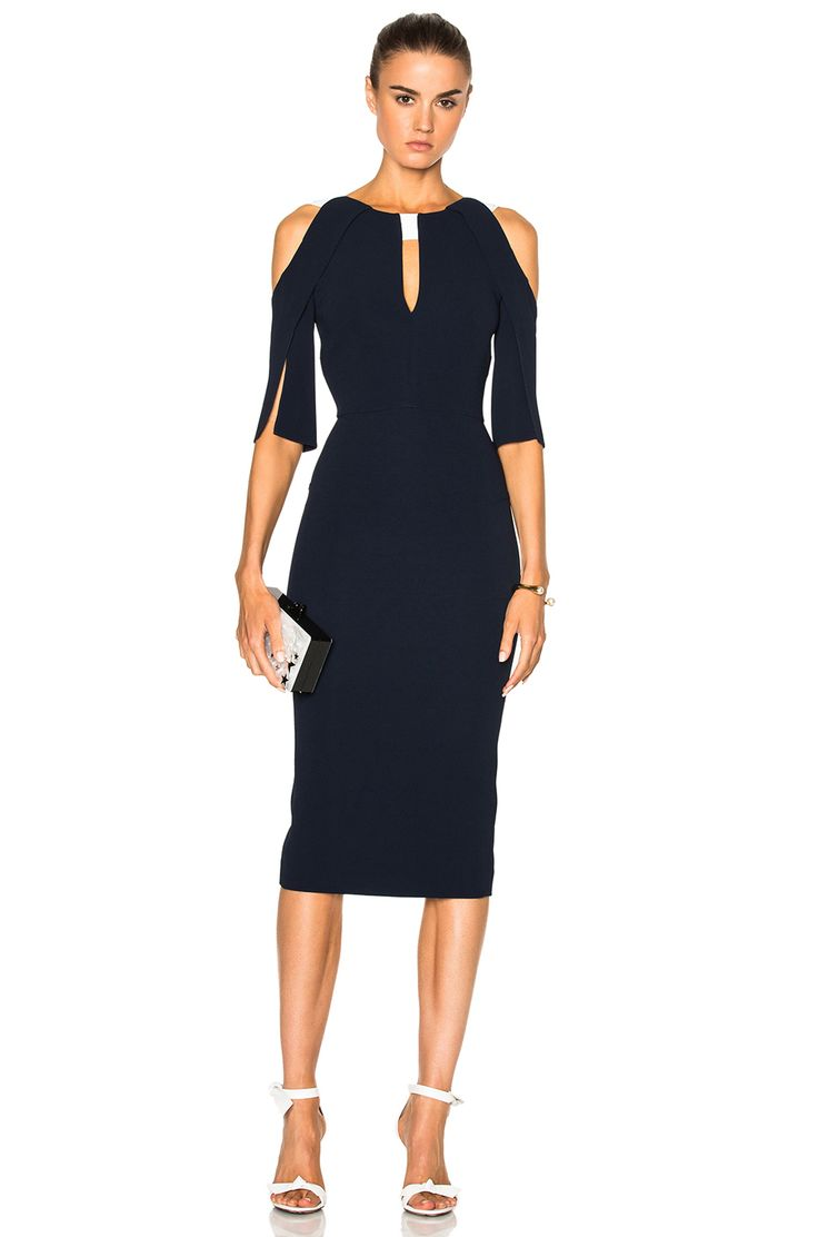 Image 1 of Roland Mouret Keeling Dress in Navy & White