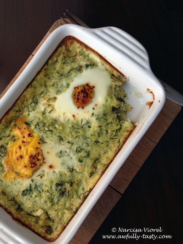 Gratin de dovlecel cu marar si oua. Courgette, dill and eggs gratin.