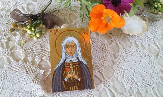 St Rita of Cascia  hand painted egg tempera on wood