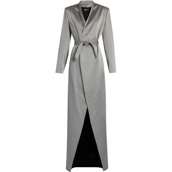 Balmain Belted satin coat (£2,545) ❤ liked on Polyvore featuring outerwear, coats, balmain, grey, shawl collar coat, belted coat, satin coat and satin slip