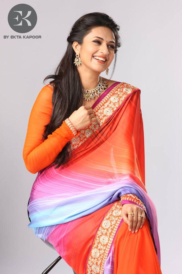 Divyanka Tripathi in EK Label's Fusion Satin Georgette Saree