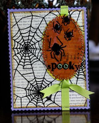 Halloween Card 2. Both of the halloween cards use the Clear Scraps Buckle Frame shape. The first card uses the main shape and the second card uses the middle oval shape. For this second card I used a green alcohol ink on the back of the acrylic piece and then backed it with a sheet of almost solid orange patterned paper. I then stamped the spiders on top using StazOn ink. Lastly, I added some of Rangers Enamel accents on top of the spiders bodies. #halloween #card