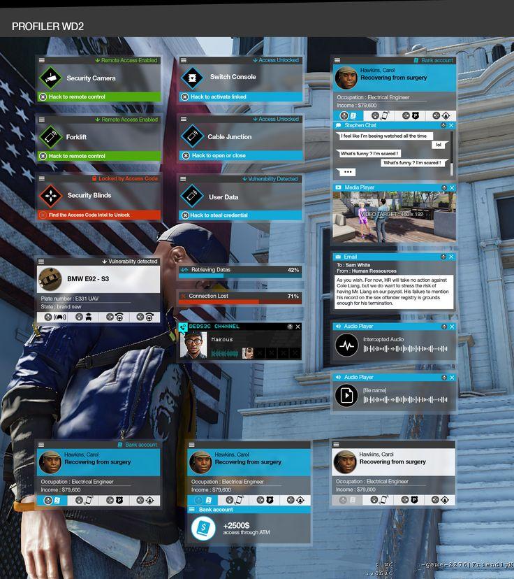 Watch Dogs 2 : Profiler UI
