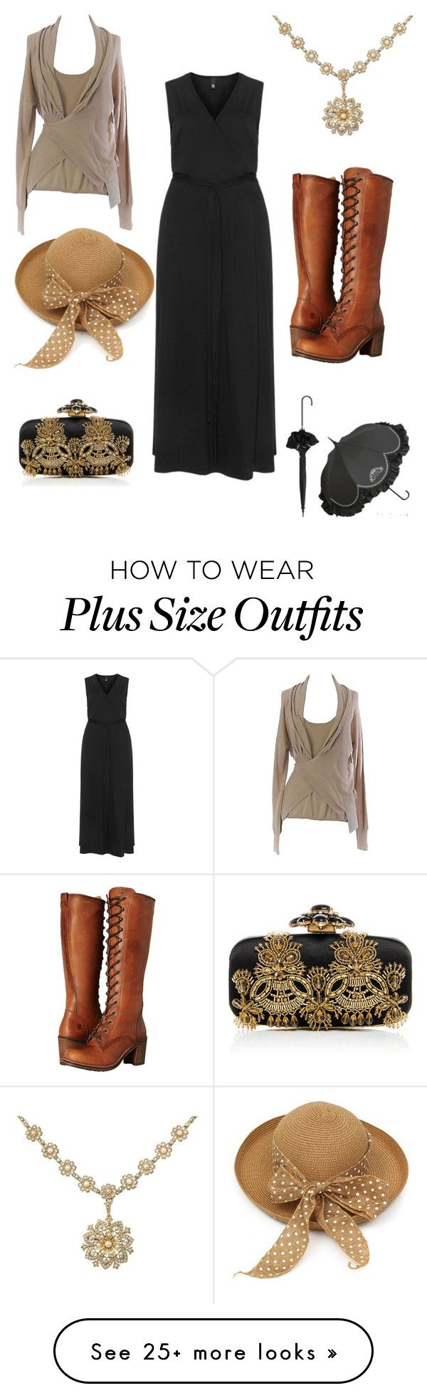 """plus size 1900's inspired"" by aleger-1 on Polyvore featuring Manon Baptiste, Marina Rinaldi, Frye and Oscar de la Renta"