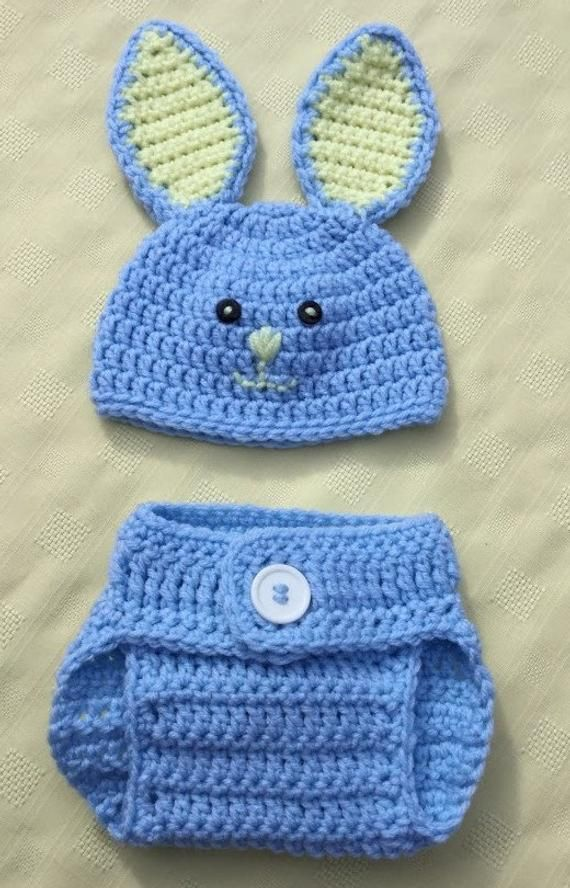 Crochet Bunny Hat And Diaper Cover Set Newborn Baby Bunny Hat Easter Baby Gift Blue Diaper Cover Yellow Baby Photo Prop Ready To Ship In 2020 Crochet Baby Clothes Baby Knitting