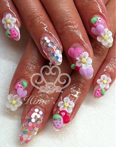 Glitter Nails With Hearts Strawberries And Flowers Www Himenail By