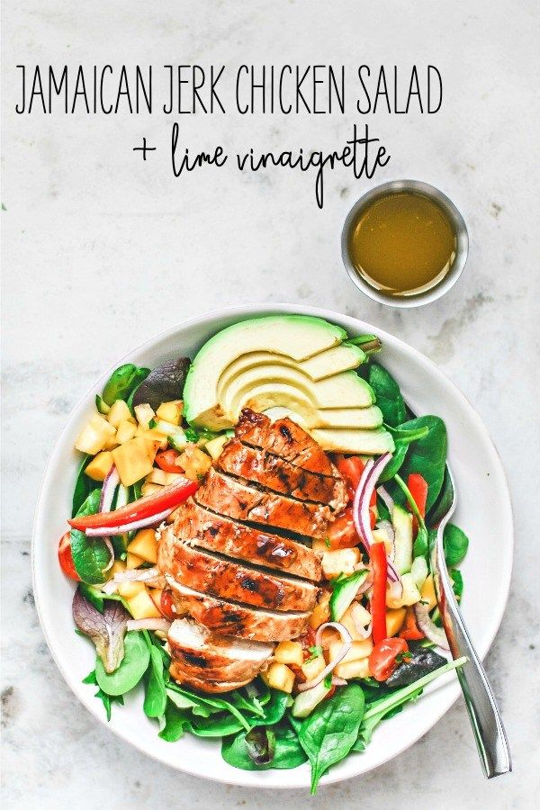 Jamaican Jerk Chicken Salad With Lime Vinaigrette Healthy Salad Recipes Vinaigrette Recipes Salad Recipes
