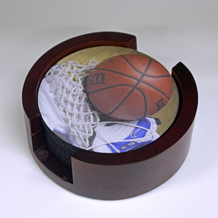 Basketball Equipment Round Coasters (Set Of 5) With Wood Holder