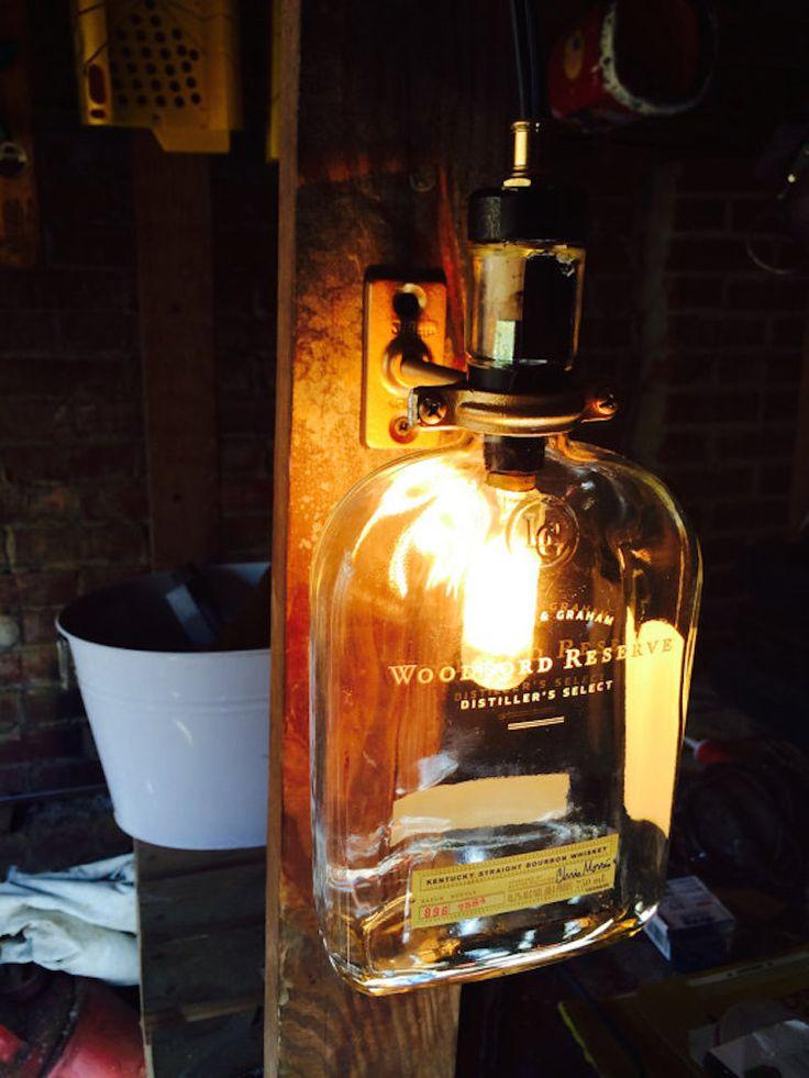 Upcycled Woodford Reserve Bourbon Whiskey Bottle Lamp