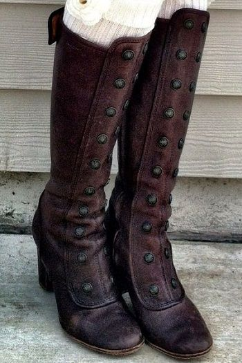 dark brown leather, tall boots with studs... unique!