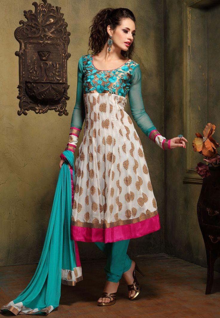 Off White Faux Georgette Readymade Anarkali Churidar Kameez Online Shopping: KGF4353B