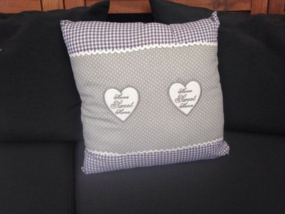 Soft and cozy gray throw pillow, home sweet home pillow, heart pillow, polka dots Home, Sweet ...