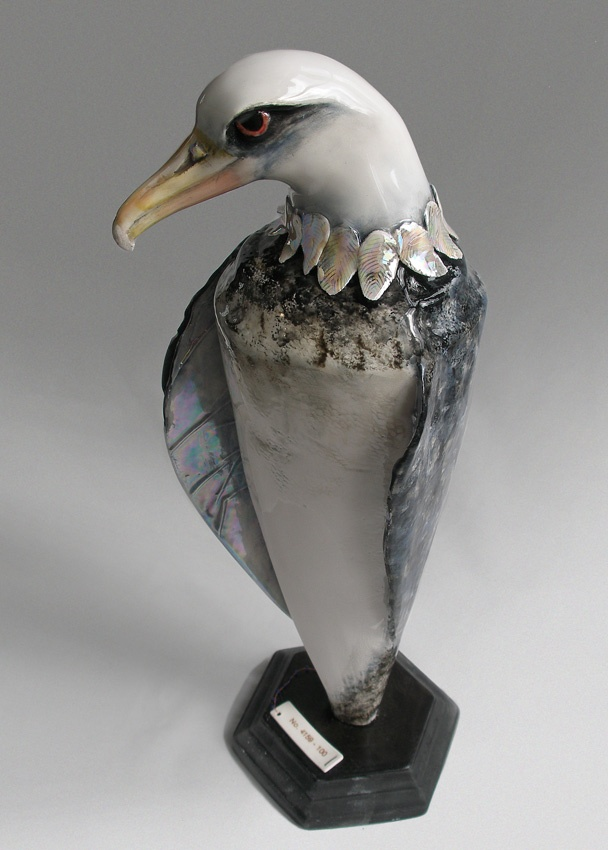 Diomedea Laysan, created as a tribute to a 62 year old Albatross, tagged in the 50's and called Wisdom, way back then, who was spotted sitting on a chick this spring just gone, aged 62, the oldest known albatross alive, yet alone still breeding. Porcelain, assembled. By Mrs Gardiner