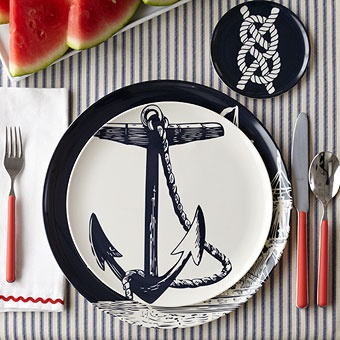 Nautical table decor.. ♥ Anchor Plates   ...I want these dishes for my friend's sailboat!