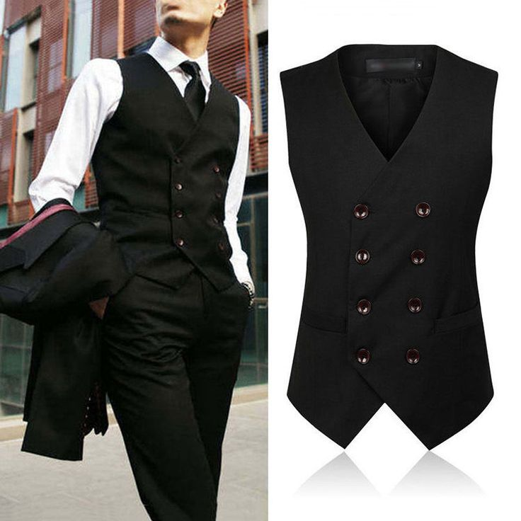 Mens Vintage Waistcoat Gray Black Slim Fit Formal Casual Vest Double-breasted #Unbranded