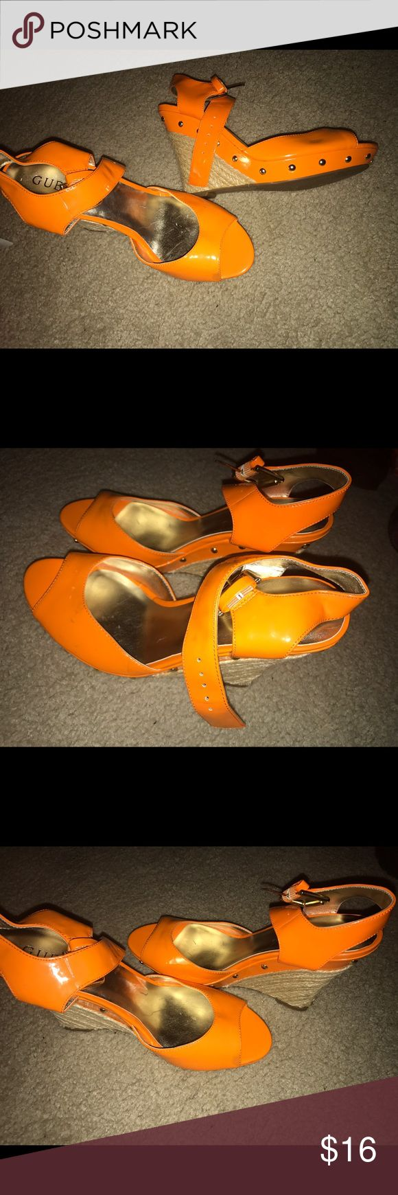 Guess orange wedges size 8 Pre owned. A few scuff marks but still in good condition. Size 8 Guess Shoes Wedges