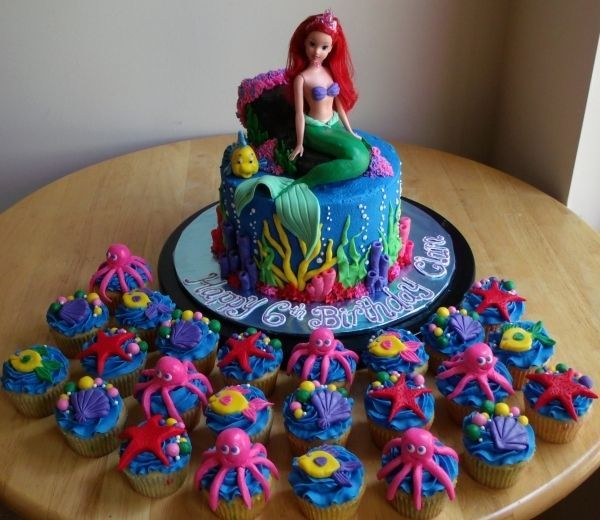 Ariel Cake With Cupcakes Very Fun For Young Girls