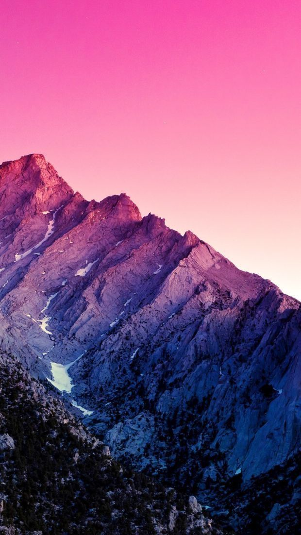 Body of water near mountain covered by snow. aesthetic tumblr wallpaper pink purple mountain   Mountain ...