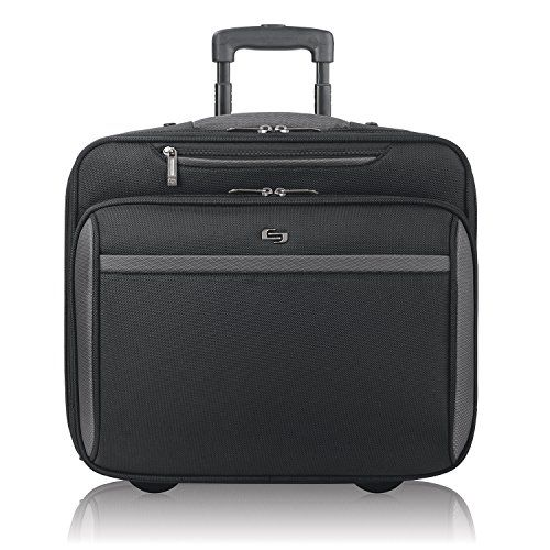 "#7: Solo 16"" Laptop Rolling Case Overnighter section and Removable Sleeve Black"