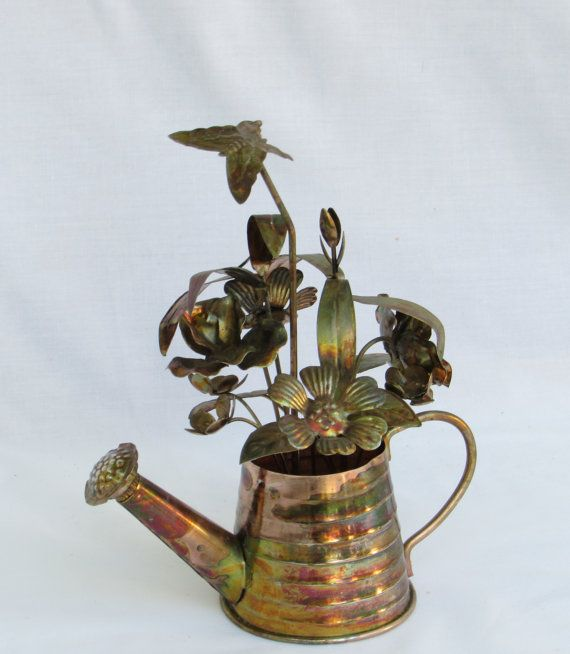 Copper Music Box Sculpture Watering Can Flower Pot With