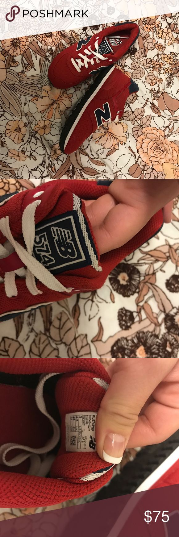 RED WHITE AND BLUE NEW BALANCE Red white and blue sneakers from NB! Super cute and comfortable I get compliments wherever I go from both girls and guys haha Only worn a couple of times but they're in excellent used condition These are youth chores but I'm a size 6 and they fit perfectly Urban Outfitters Shoes