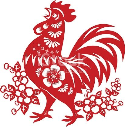 Traditional papercut rooster art of Year of the Rooster.