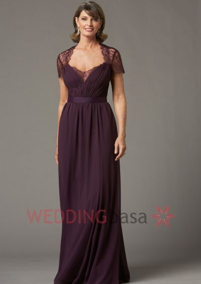 2015 Elegant Aline Floor Length Chiffon Custom Made Grape Color Sweetheart Pleated Cheap Mother Of The Bride Dress With Jacket Graceful Lace Jacket Zipper Back Wedding Party Gown
