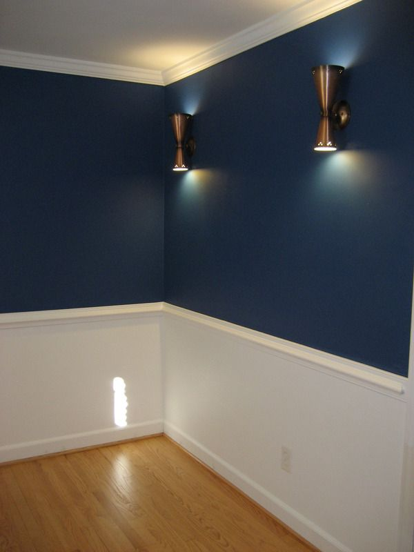 "Sherwin Williams Dignity Blue. I am in love with this color.  Slightly brighter than navy.  Just a touch off-beat without going full-on ""hipster coffee house"".  (I first painted the ceiling Blue Chip, and it was totally hipster coffee house level offbeat.  Not what I was going for.)"