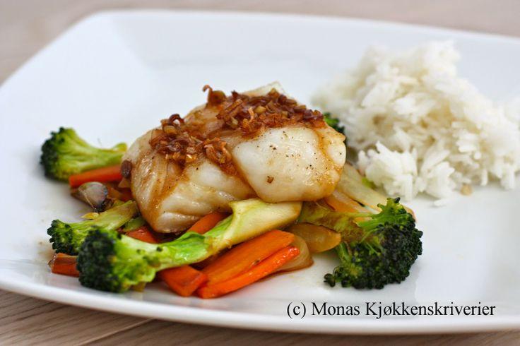 Ovnsbakt torsk med smakfull asiatisk vri - baked cod with asian twist