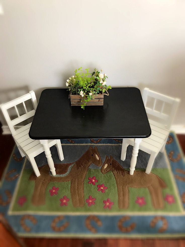 Kids Wooden Farmhouse Table with Two Chairs, Rustic kids table, White Farmhouse Kids Furniture by VINTAGEVIXENbyZELLE on Etsy https://www.etsy.com/listing/513926674/kids-wooden-farmhouse-table-with-two