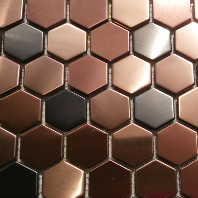 Hexagon mosaics tile copper rose gold color black stainless steel backsplash kitchen tiles bath walls shower flooring tile 11SF