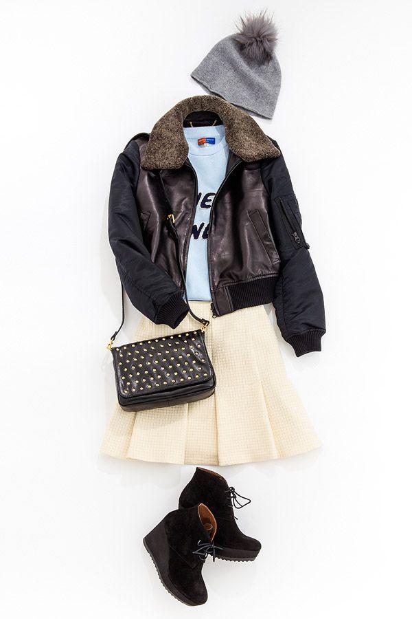 ルミネ新宿 ルミネ2のアイテムでコーディネートレッスン!今週のテーマは「ボーイズテイストのコートを着こなす」。イベントでおしゃれに目立てる最旬アウター、レザーブルゾン!人気スタイリスト山崎ジュンさんが「すぐマネできる」テクニックをお伝えします。