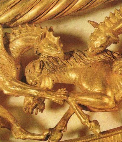 DETAIL, SCYTHIAN GOLD PECTORAL. Scythian golden pectoral from the royal grave at Tolstaja Mogila kurgan, 400 BC. Museum of Historic Treasures of Ukraine, Kiev.