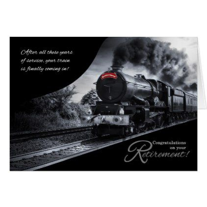 #personalize - #Retirement Congratulations Railroad Train Theme Card