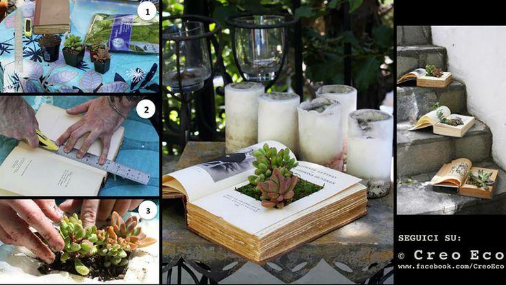 Ecco come realizzare una particolare composizione di piante grasse con il #RicicloCreativo dei vecchi libri #EcoDesign #FaiDaTe  SEGUICI SU: www.facebook.com/CreoEco www.pinterest.com/CreoEco