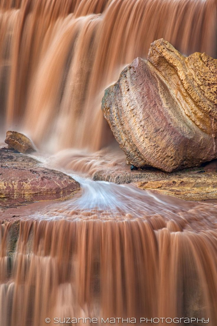 A close up for Grand Falls In Arizona, often called chocolate falls for good reason.  Grand Falls is a natural waterfall system located 30 miles northeast of Flagstaff, Arizona in the Painted Desert on the Navajo Indian Reservation. At 185 feet tall  it is taller than Niagara Falls.