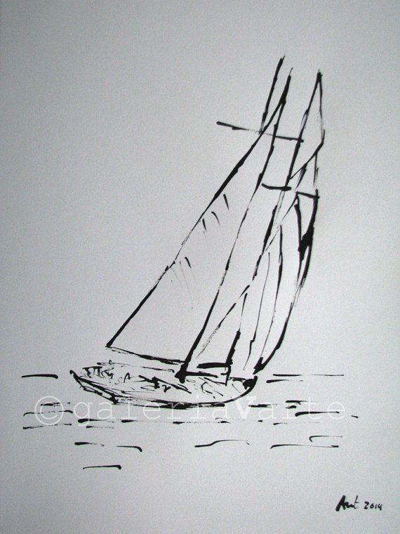 Inchiostro originale disegno barca a vela di galeriaVarte